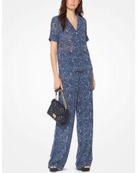 Michael Kors - Camisa tipo pijama de georgette con estampado de cachemir - Lyst