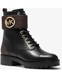 Michael Kors Tatum Leather And Logo Combat Boot - Black