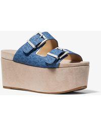 Michael Kors Delilah Logo And Suede Flatform Sandal - Blue