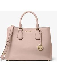 Michael Kors Camille Large Pebbled Leather Satchel - Pink