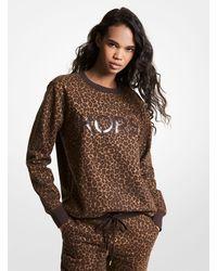 Michael Kors Sweatshirt Aus Biobaumwollmischgewebe Mit Leopardenmuster Und Logo - Braun