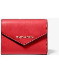 Michael Kors Medium Crossgrain Leather Envelope Wallet - Red