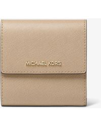 Michael Kors Jet Set Small Leather Card Case - Natur