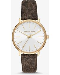 Michael Kors Pyper Logo And Gold-tone Watch - Brown
