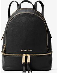 Michael Kors - Rhea Black Leather Zip Fastening Backpack - Lyst