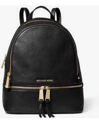 Michael Kors Rhea Medium Leather Backpack - Black