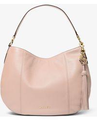Michael Kors Grand sac porté épaule Brooke en cuir grainé - Rose