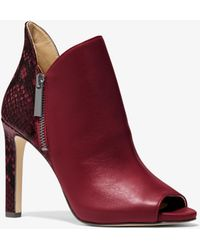 Michael Kors Alane Leather And Python Embossed Open-toe Ankle Boot - Red