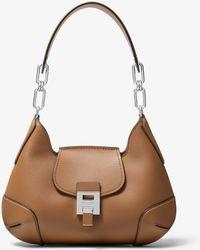 Michael Kors Bancroft Medium Calf Leather Shoulder Bag - Brown
