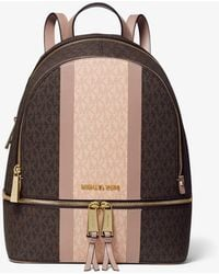 Michael Kors Zaino Rhea Medio In Pelle Con Logo E Righe - Marrone