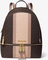 Michael Kors Zaino Rhea Medio In Pelle Con Logo E Righe