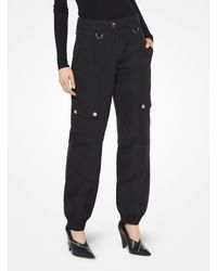 Michael Kors Washed Silk And Cotton-faille Cargo Pants - Black