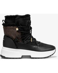 Michael Kors Cassia Nylon And Leather Boot - Brown