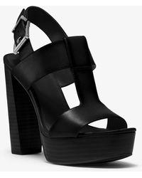 Michael Kors Becker Burnished Leather Platform Sandal - Black