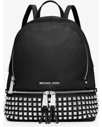 Michael Kors Rhea Medium Studded Pebbled Leather Backpack - Black