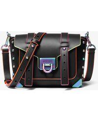 Michael Kors Manhattan Small Contrast-Trim Leather Crossbody Bag - Noir