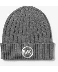 Michael Kors - Logo Ribbed Beanie Hat - Lyst