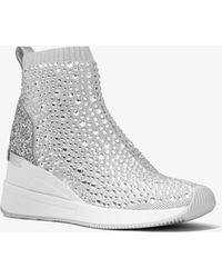 Michael Kors Skyler Crystal Embellished Metallic Stretch Knit Sock Sneaker