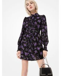 Michael Kors Floral Silk-georgette Ruffled Shirtdress - Multicolour