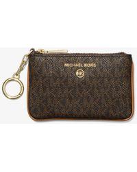 Michael Kors Porta carte di credito extra-small con logo e portachiavi - Marrone