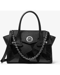 Michael Kors Très petit sac porté main Carmen à ceinture en cuir saffiano clouté - Noir
