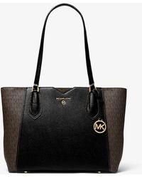 Michael Kors Mae Medium Pebbled Leather and Logo Tote Bag - Noir
