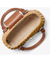 Michael Kors Bancroft Mini Rattan And Leather Basket Bag - Multicolour