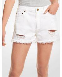 Michael Kors Distressed Denim Shorts - White