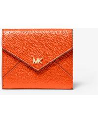 Michael Kors Medium Pebbled Leather Envelope Wallet - Orange
