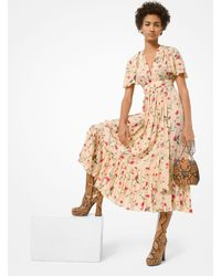 Michael Kors Floral Crushed Silk Crepe De Chine Dress - Natural