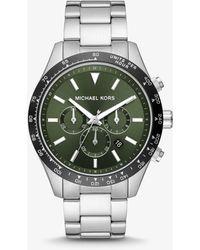 Michael Kors Übergroße Armbanduhr Layton Im Silberton - Grün