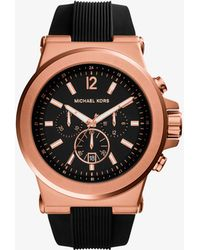 Michael Kors Reloj Dylan oversize en tono dorado rosa de silicona