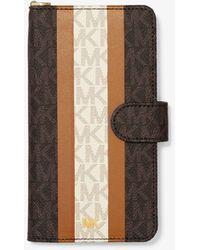 Michael Kors Logo Stripe Wristlet Folio Case For Iphone Xs Max - Brown