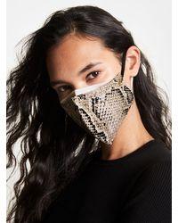 Michael Kors Snake Print Stretch Cotton Face Mask - Black
