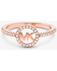 Michael Kors Precious Metal Plated Sterling-silver Logo Ring - Metallic