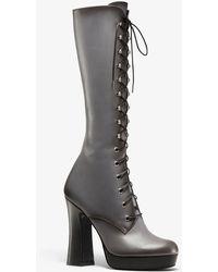 Michael Kors Deandra Burnished Calf Leather Platform Boot - Gray