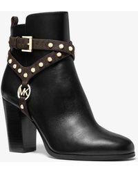 Michael Kors Preston Studded Leather Ankle Boot - Black