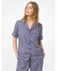 Michael Kors Printed Silk Pajama Shirt - Blue