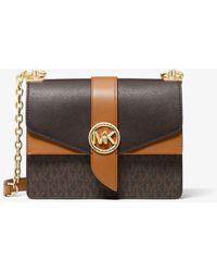 Michael Kors Petit sac à bandoulière Greenwich en cuir saffiano à couleurs contrastées avec logo - Marron