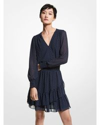 Michael Kors Polka Dot Georgette Mini Dress - Blue