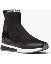 Michael Kors Swift Stretch Knit And Leather Sock Sneaker - Black