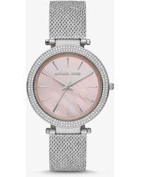 Michael Kors Reloj Darci oversize de malla en tono plateado con incrustaciones - Metálico