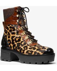 Michael Kors Khloe Mixed-media Combat Boot - Brown