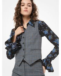 Michael Kors Glen Plaid Wool Vest - Blue