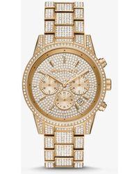 Michael Kors Ritz Three-hand Glitz Gold-tone Stainless Steel Watch - Metallic