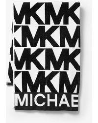 Michael Kors Telo Da Mare In Cotone Con Logo - Nero