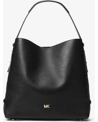 Michael Kors Griffin Large Leather Shoulder Bag - Black
