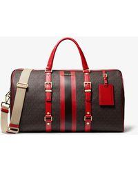 Michael Kors Bedford Travel Extra-large Logo Stripe Weekender Bag - Red