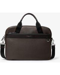 Michael Kors Mk Greyson Slim Pebbled Leather Briefcase - Brown