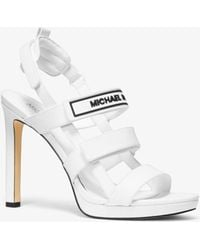 54fda53fb12 Lyst - Michael Kors Maxie Leather Mule in White